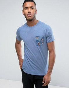 Футболка с тропическим принтом на кармане Threadbare - Синий