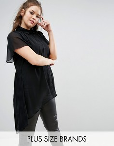 Блузка с короткими рукавами и плиссировкой на спине Lovedrobe - Черный