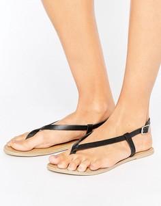 Кожаные сандалии с перемычкой London Rebel - Черный