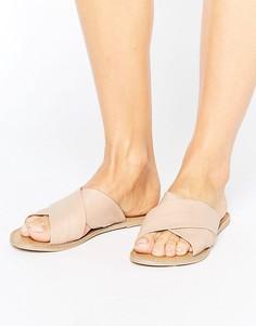 Кожаные сандалии на плоской подошве London Rebel - Бежевый