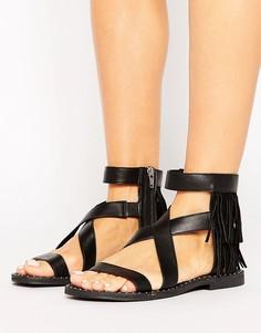 Кожаные сандалии на плоской подошве с бахромой Sixtyseven - Черный