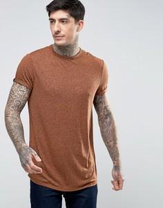 Удлиненная футболка из фактурной льняной ткани с отворотами на рукавах ASOS - Рыжий