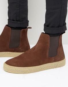 Коричневые замшевые ботинки челси ASOS - Коричневый