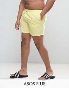 Желтые шорты для плавания средней длины ASOS PLUS - Желтый