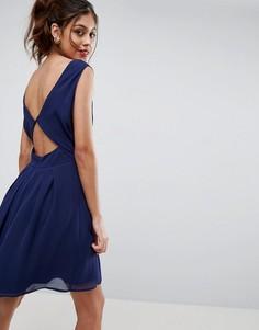 Платье мини с вырезами сзади ASOS - Темно-синий