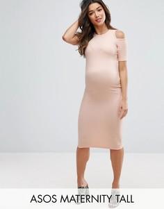Облегающее платье в рубчик с вырезами на плечах ASOS Maternity TALL - Розовый