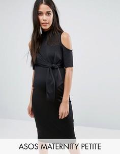 Платье миди с вырезом на плечах и поясом ASOS Maternity PETITE - Черный