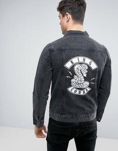 Джинсовая куртка с коброй Liquor & Poker - Черный
