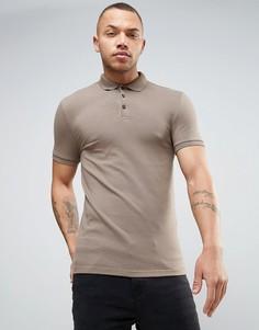 Коричневая облегающая футболка-поло ASOS - Коричневый