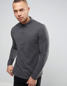 Серая футболка-поло из ткани пике с воротником на пуговицах ASOS - Серый