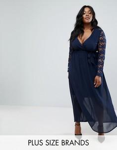 Платье макси с глубоким вырезом и кружевными рукавами Club L Plus - Темно-синий