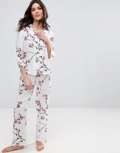 Традиционная пижама с рубашкой и брюками с цветочным принтом ASOS - Мульти
