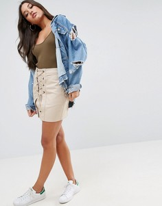 Мини-юбка со шнуровкой ASOS - Серый