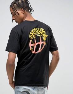 Футболка с логотипом на спине HUF - Черный