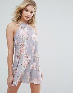 Свободное платье с цветочным принтом и лямкой через шею Oh My Love - Серый