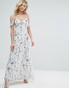 Платье макси с цветочным принтом и открытыми плечами Oh My Love - Мульти