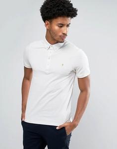 Меланжевая футболка-поло цвета мела с коротким рукавом Farah Merriweather - Белый