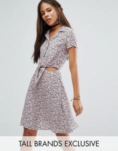 Короткое приталенное платье с завязкой и цветочным принтом Glamorous Tall - Мульти
