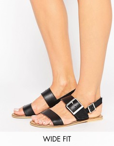 Кожаные сандалии для широкой стопы с пряжкой ASOS FANGS - Черный