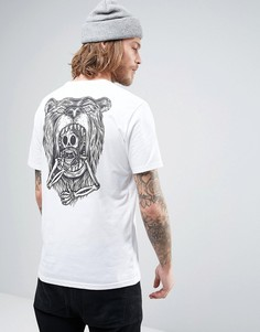 Белая футболка с принтом черепа на спине Element Attack - Белый