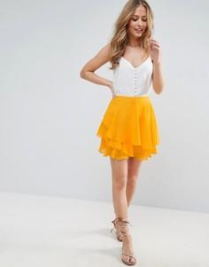 Мини-юбка с воланами ASOS - Оранжевый