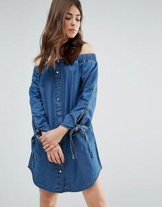 Джинсовое платье с открытыми плечами Parisian - Синий