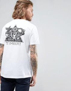 Белая футболка с принтом треугольника на спине Element - Белый