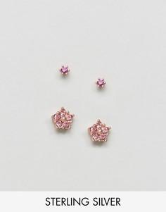 2 пары серебрянных серьг цвета розового золота с камнями ASOS - Мульти