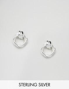 Серебряные витые серьги с отделкой в виде узелка ASOS - Серебряный