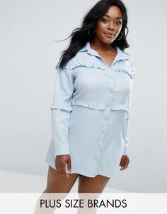 Платье-рубашка с оборками Boohoo Plus - Синий