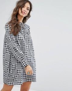 Свободное платье в клеточку Glamorous - Черный