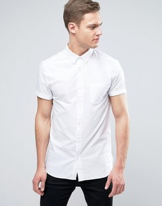 Узкая рубашка с короткими рукавами Burton Menswear - Белый