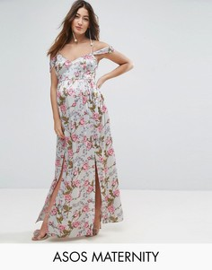 Атласное платье с цветочным принтом и открытыми плечами ASOS Maternity - Мульти