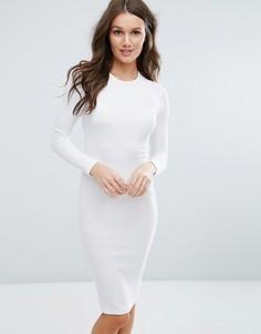 Облегающее платье миди в рубчик с длинными рукавами ASOS - Белый