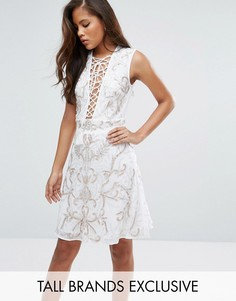 Платье мини с цветочной отделкой Maya Tall - Белый