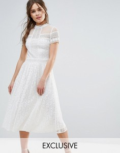 Кружевное платье миди с отделкой бисером Frock and Frill - Кремовый