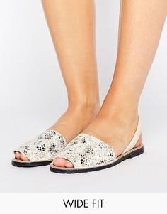 Кожаные сандалии для широкой стопы с открытой пяткой Park Lane - Бежевый