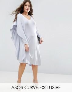 Асимметричное платье миди с одним рукавом и драпировкой ASOS CURVE - Серый