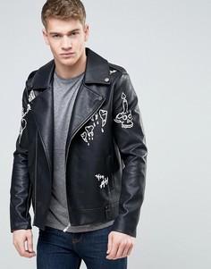 Байкерская куртка с граффити из искусственной кожи Liquor & Poker - Черный