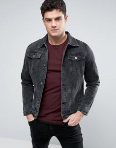 Выбеленная черная джинсовая куртка Liquor & Poker - Черный