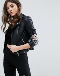 Куртка из искусственной кожи с вышивкой Miss Selfrdige - Черный