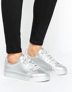 Кроссовки металлик на шнуровке New Look - Серебряный