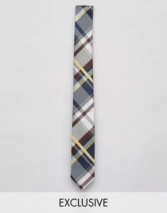 Узкий галстук в клетку Reclaimed Vintage Inspired - Синий