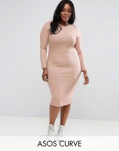 Облегающее платье миди в рубчик с длинными рукавами ASOS CURVE - Розовый