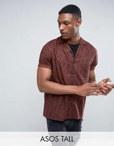 Рубашка классического кроя из вискозы с леопардовым принтом ASOS TALL - Коричневый