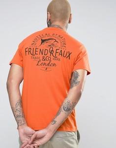 Футболка с принтом на спине Friend or Faux - Коричневый