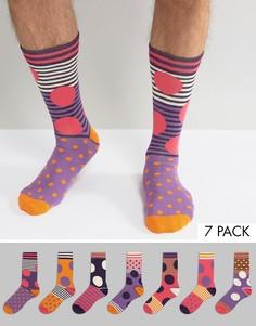 Набор из 7 пар носков в яркий горошек ASOS - Мульти