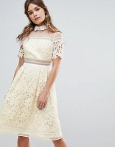 Кружевное премиум-платье со вставками и контрастным воротником Chi Chi London - Желтый