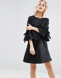 Свободное платье из поплина с бантами на рукавах New Look - Черный