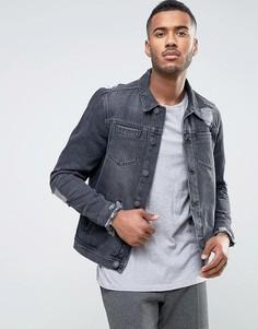 Темно-серая джинсовая куртка с рваной отделкой New Look - Серый